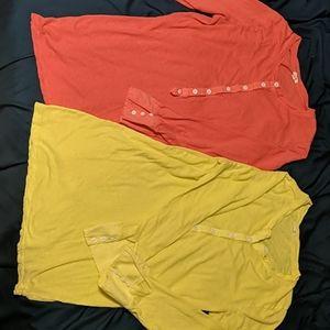 2 JCrew linen-cotton blend henley shirts 3/4 sleev